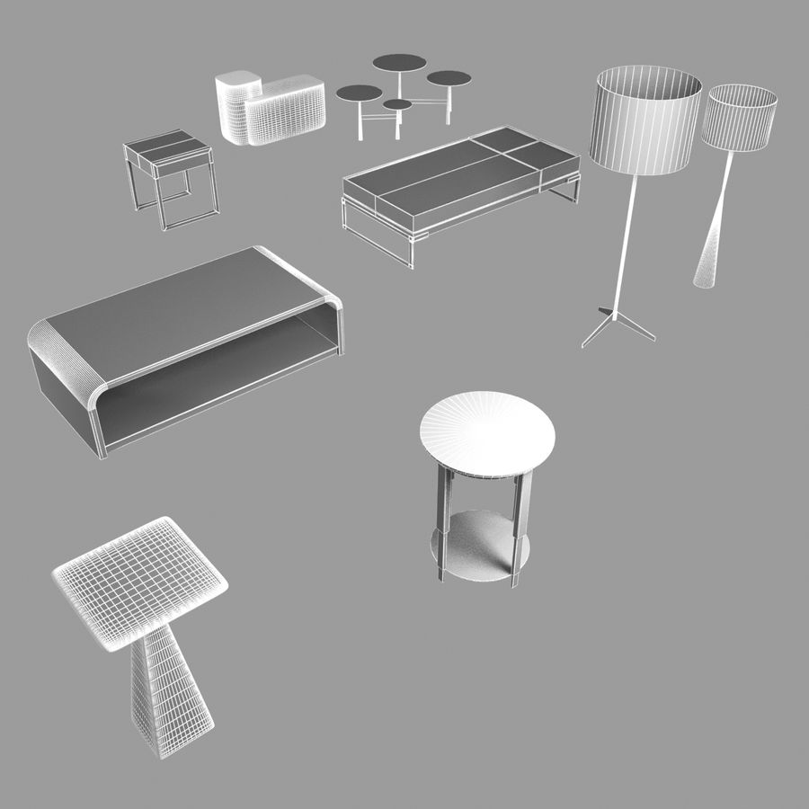 Collection de meubles lampes et tables royalty-free 3d model - Preview no. 4