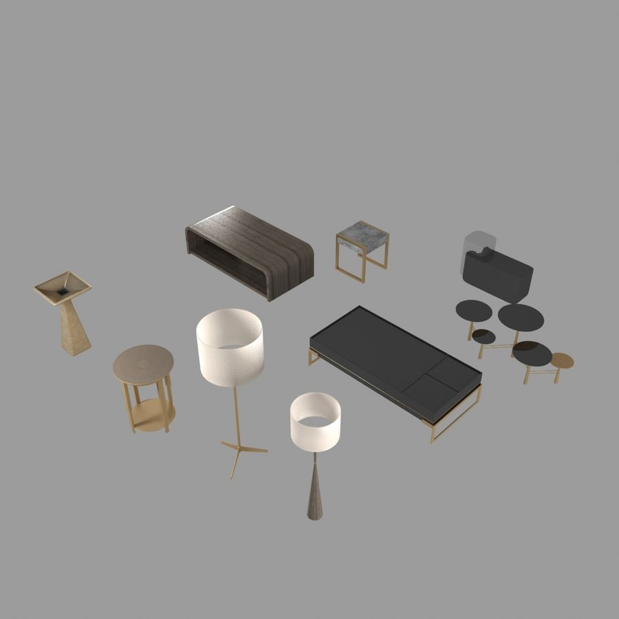 Collection de meubles lampes et tables royalty-free 3d model - Preview no. 16