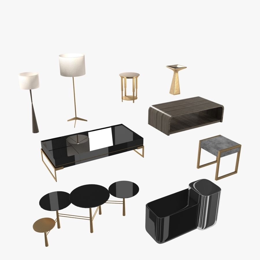 Collection de meubles lampes et tables royalty-free 3d model - Preview no. 1