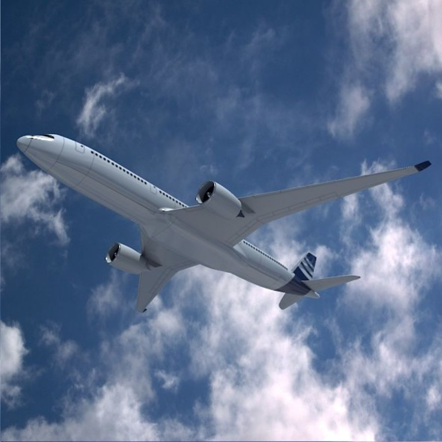 空客A350-900商用飞机 royalty-free 3d model - Preview no. 3