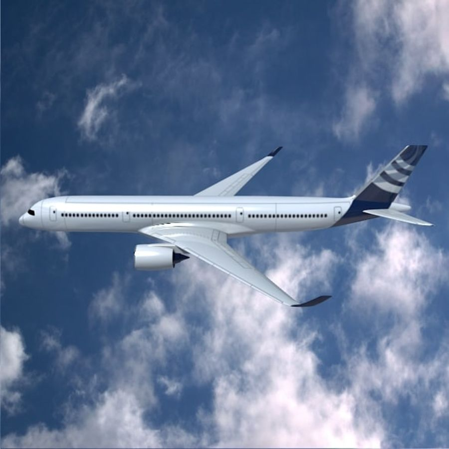 空客A350-900商用飞机 royalty-free 3d model - Preview no. 2