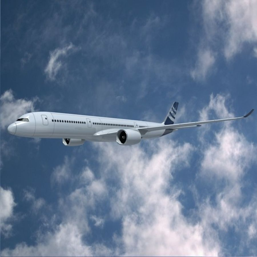 空客A350-900商用飞机 royalty-free 3d model - Preview no. 6