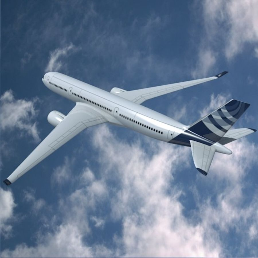 空客A350-900商用飞机 royalty-free 3d model - Preview no. 5