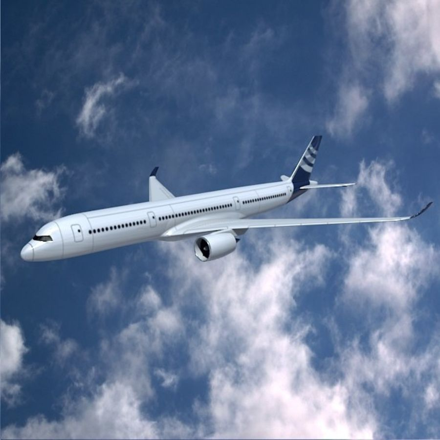空客A350-900商用飞机 royalty-free 3d model - Preview no. 1
