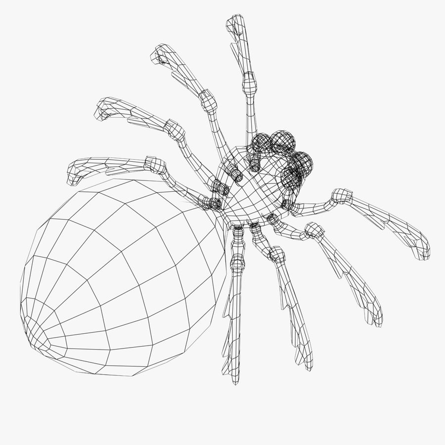 Grimtoon Spider royalty-free 3d model - Preview no. 8