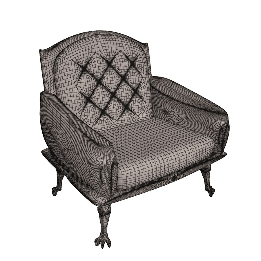 Neoclassical chair royalty-free 3d model - Preview no. 4