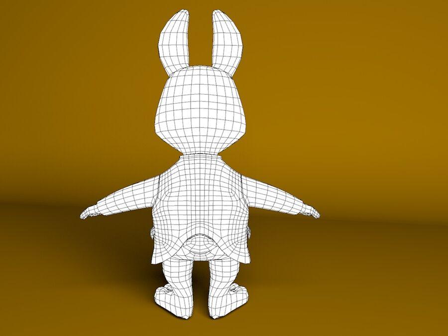 Biały królik kreskówka royalty-free 3d model - Preview no. 8