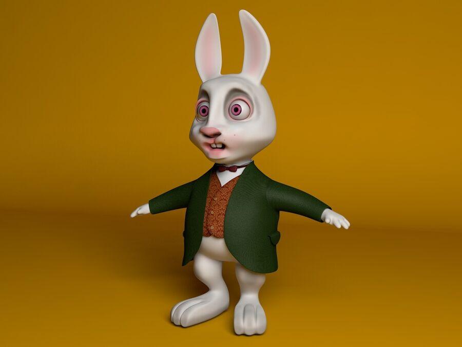 Biały królik kreskówka royalty-free 3d model - Preview no. 1