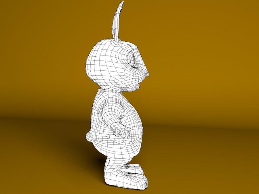 Biały królik kreskówka royalty-free 3d model - Preview no. 6