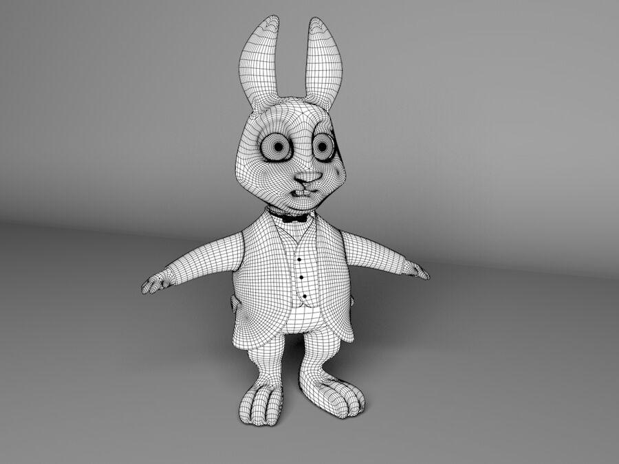 Biały królik kreskówka royalty-free 3d model - Preview no. 13