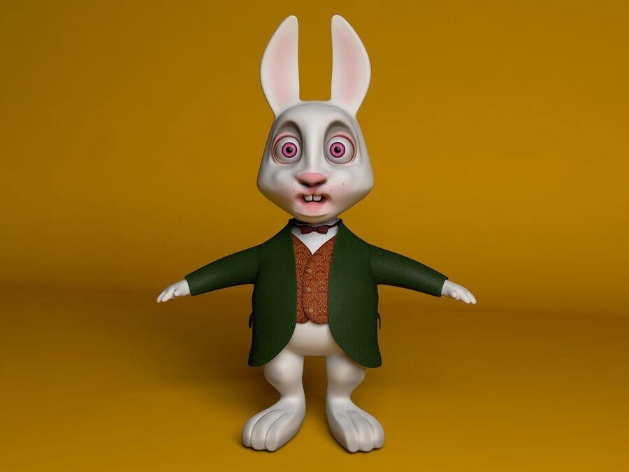 Biały królik kreskówka royalty-free 3d model - Preview no. 3