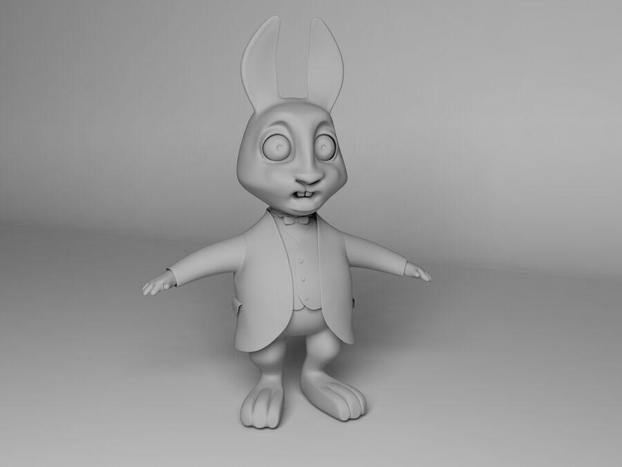 Biały królik kreskówka royalty-free 3d model - Preview no. 12