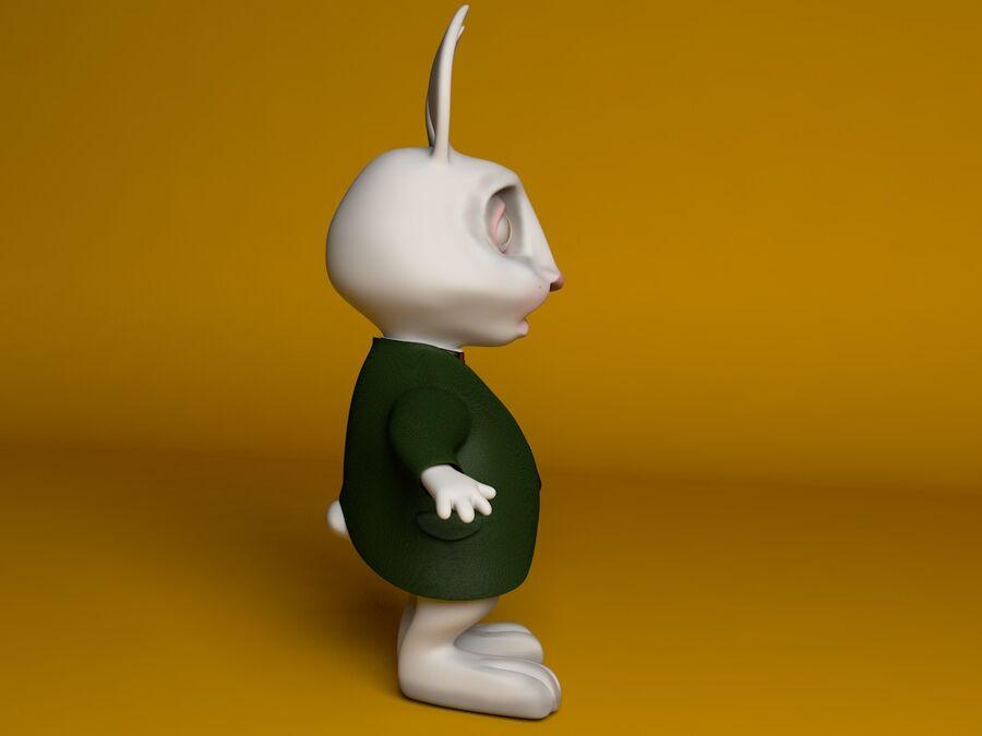 Biały królik kreskówka royalty-free 3d model - Preview no. 5