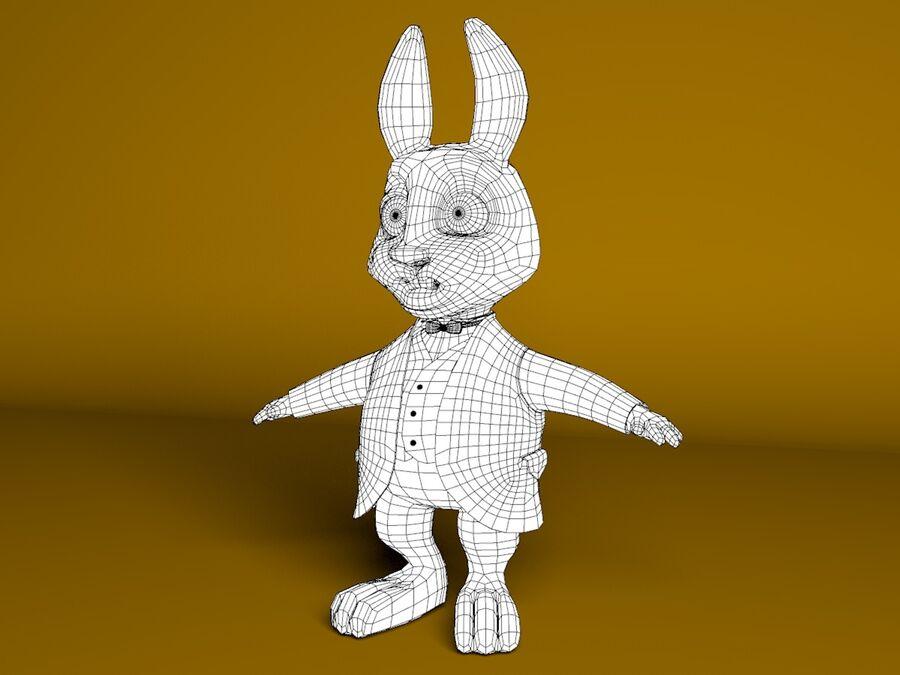 Biały królik kreskówka royalty-free 3d model - Preview no. 2