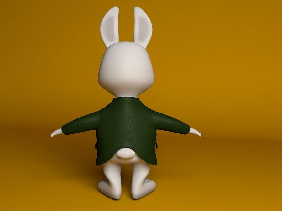 Biały królik kreskówka royalty-free 3d model - Preview no. 7