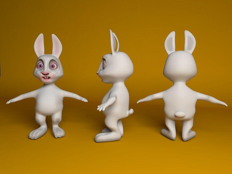 Biały królik kreskówka royalty-free 3d model - Preview no. 9