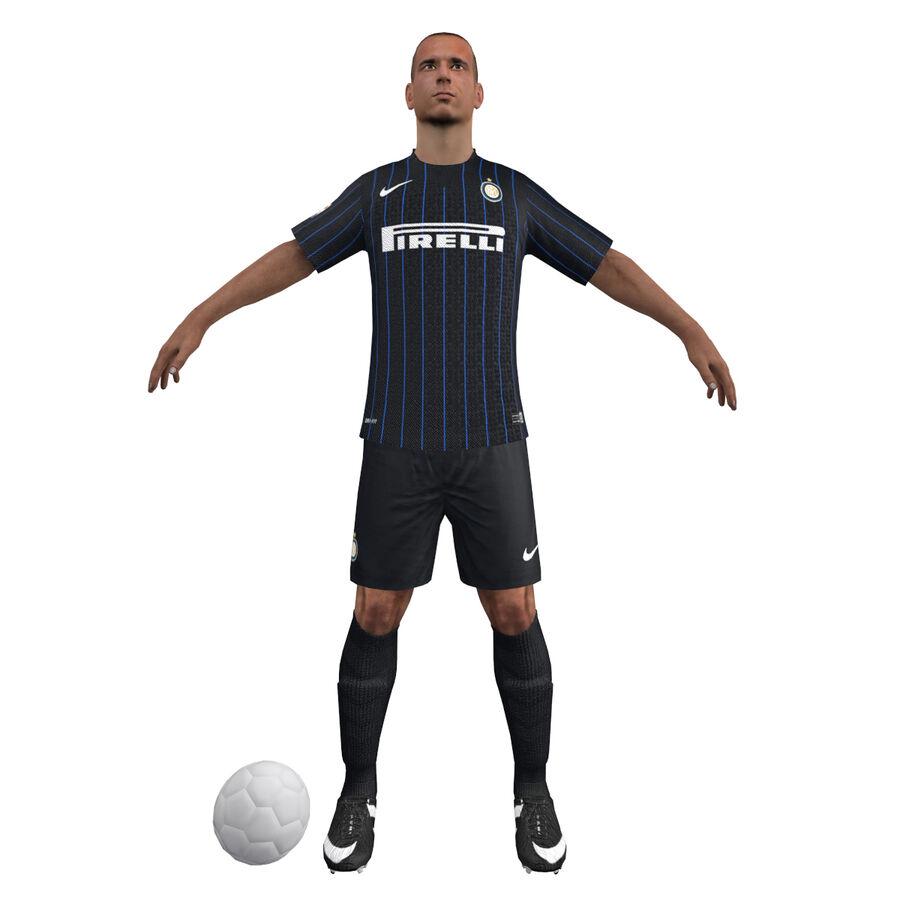 Fotbollsspelare INT riggad royalty-free 3d model - Preview no. 6