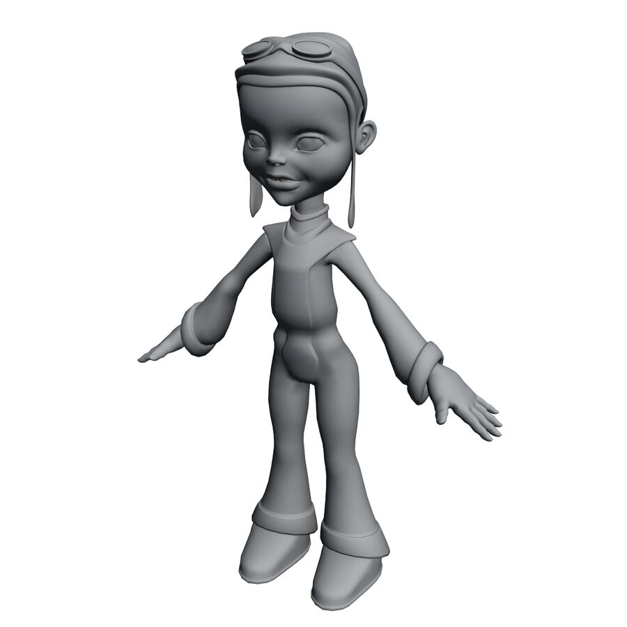 Girl Cartoon Character royalty-free 3d model - Preview no. 11