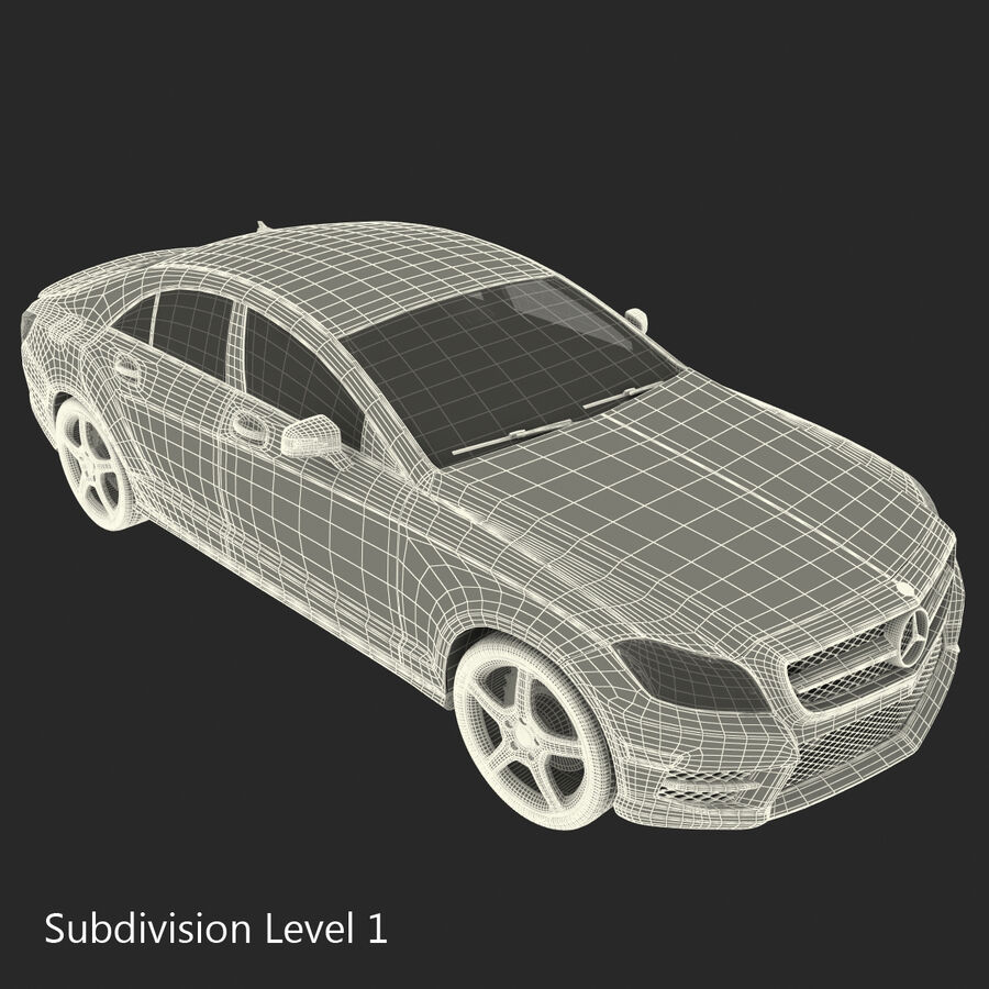 Mercedes-Benz CLS-Class Coupe 2014 Car Without Interior royalty-free 3d model - Preview no. 51