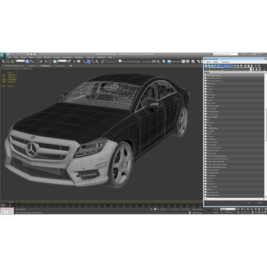 Mercedes-Benz CLS-Class Coupe 2014 Car Without Interior royalty-free 3d model - Preview no. 57