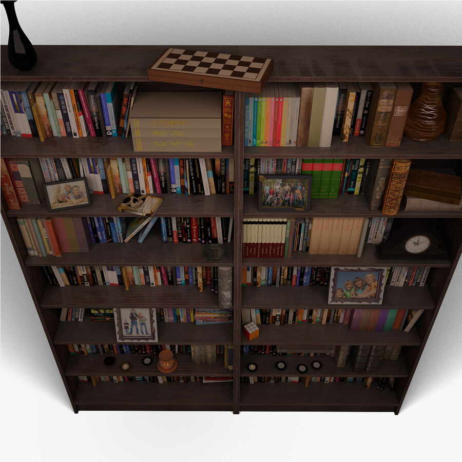 Bookshelf 2 With Books royalty-free 3d model - Preview no. 6