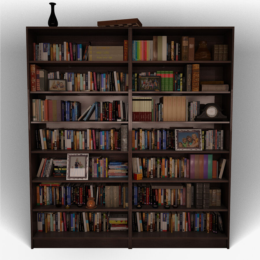 Bookshelf 2 With Books royalty-free 3d model - Preview no. 3