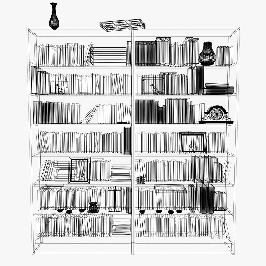 Bookshelf 2 With Books royalty-free 3d model - Preview no. 11