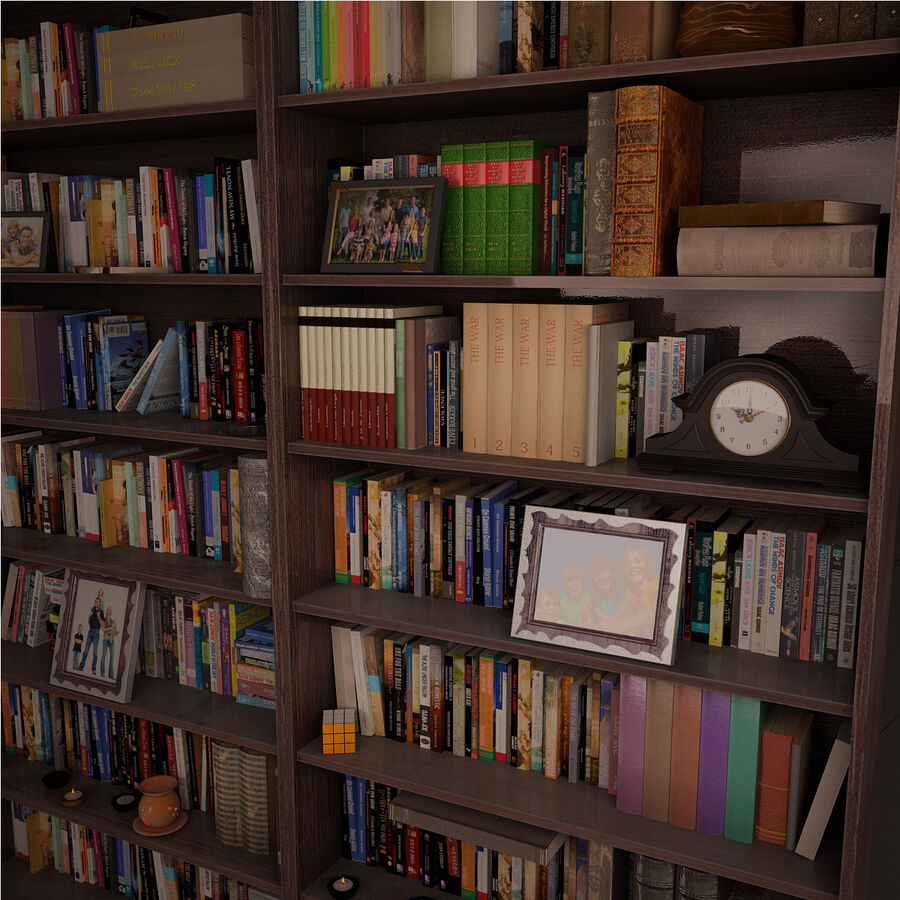 Bookshelf 2 With Books royalty-free 3d model - Preview no. 4