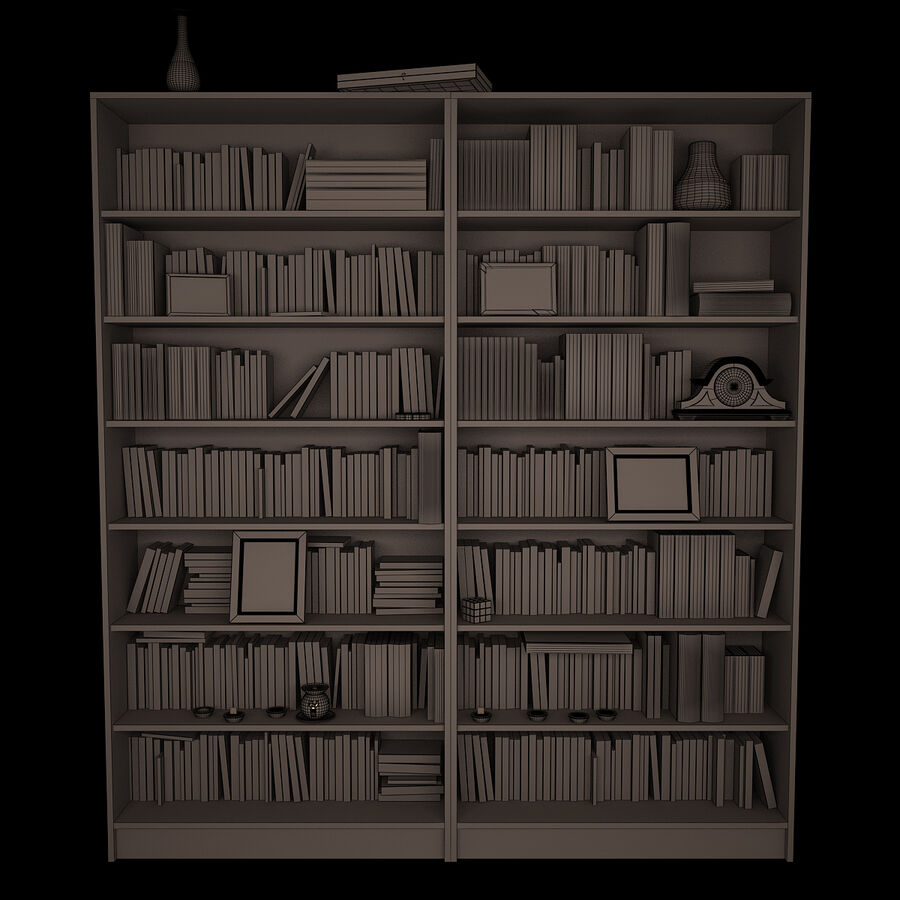 Bookshelf 2 With Books royalty-free 3d model - Preview no. 9