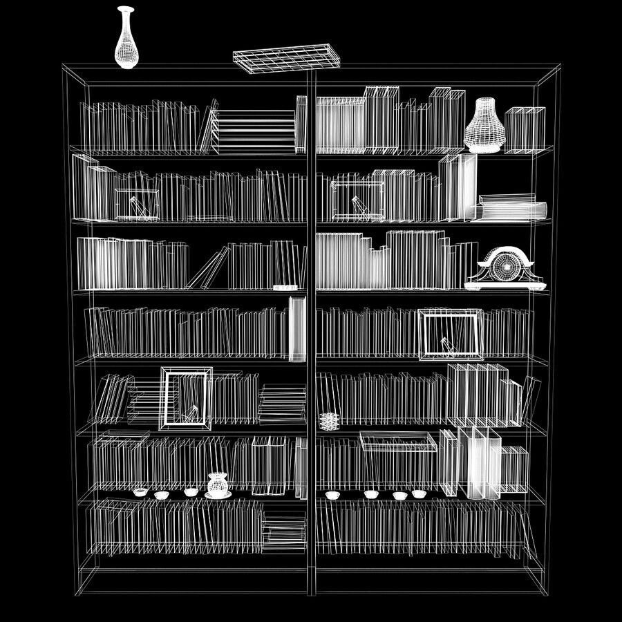 Bookshelf 2 With Books royalty-free 3d model - Preview no. 12