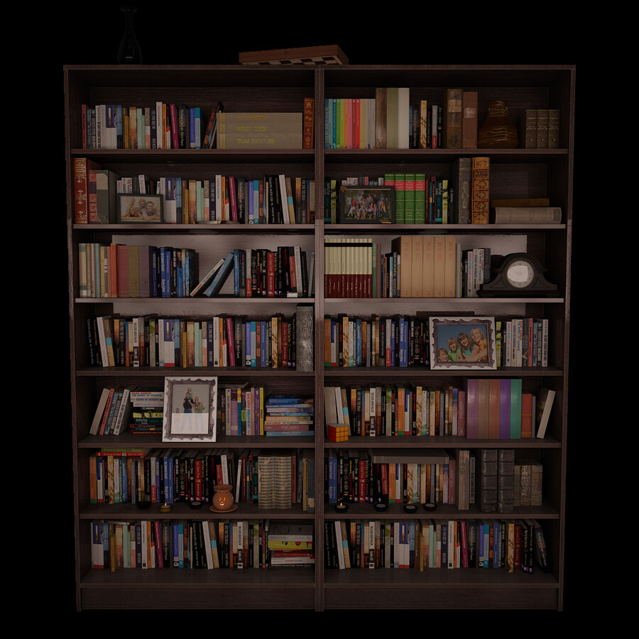 Bookshelf 2 With Books royalty-free 3d model - Preview no. 2