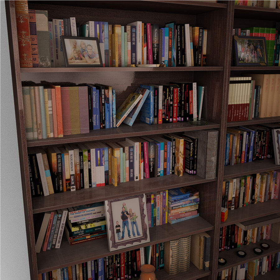 Bookshelf 2 With Books royalty-free 3d model - Preview no. 5