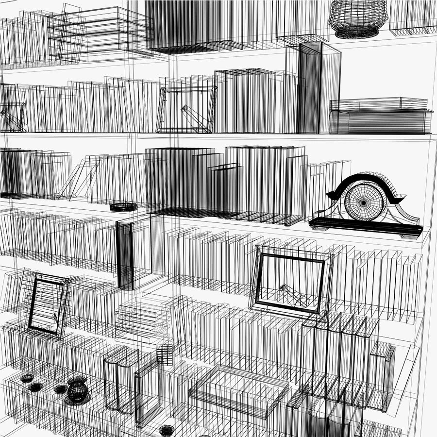 Bookshelf 2 With Books royalty-free 3d model - Preview no. 13