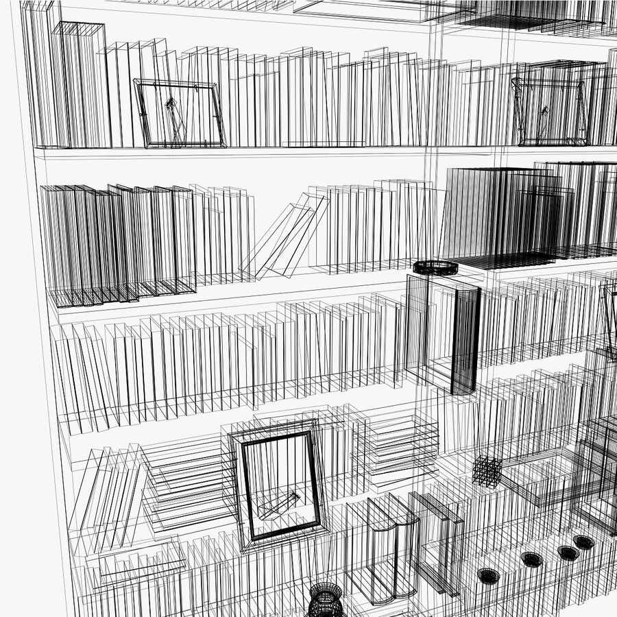 Bookshelf 2 With Books royalty-free 3d model - Preview no. 14