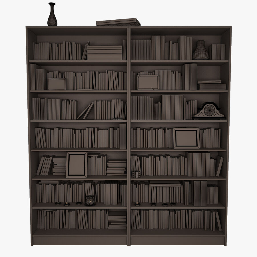 Bookshelf 2 With Books royalty-free 3d model - Preview no. 8