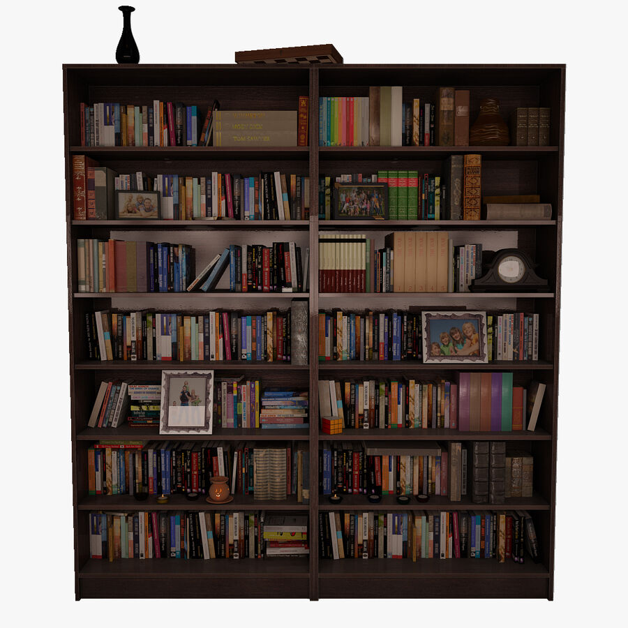 Bookshelf 2 With Books royalty-free 3d model - Preview no. 1