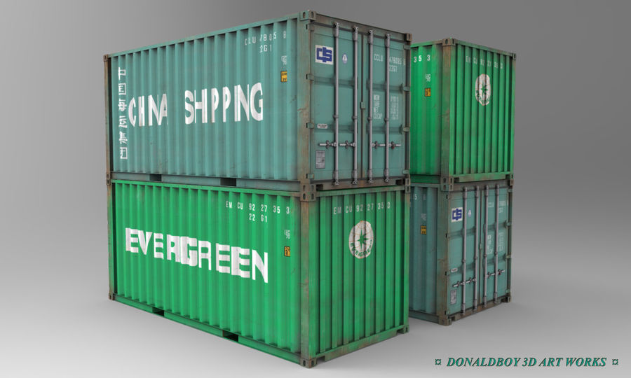 Container 20ft royalty-free 3d model - Preview no. 1