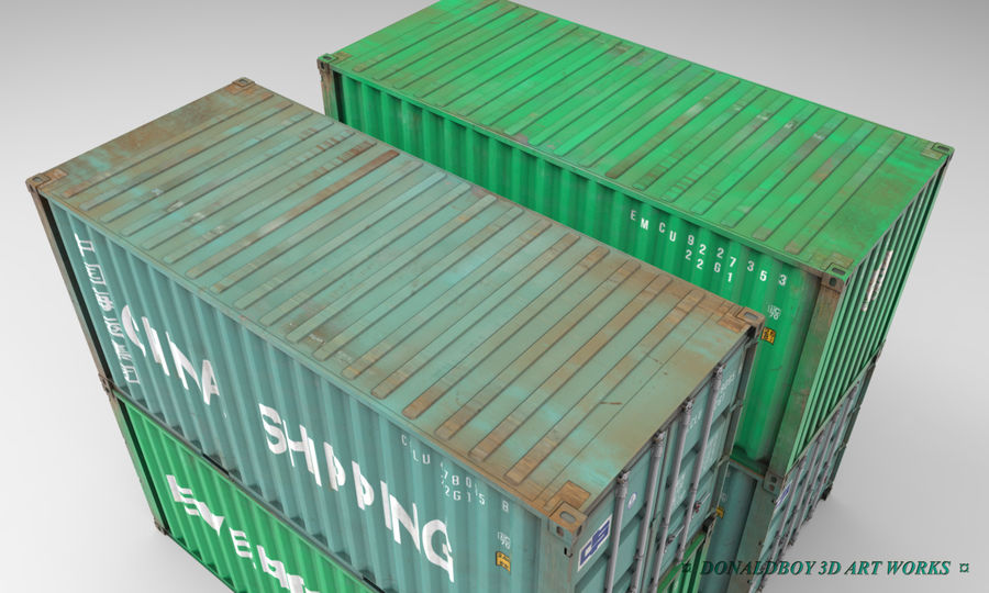 Container 20ft royalty-free 3d model - Preview no. 4