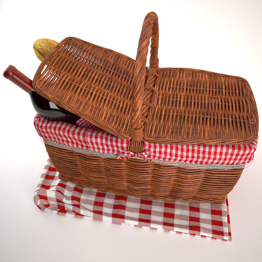 Panier pique-nique royalty-free 3d model - Preview no. 3