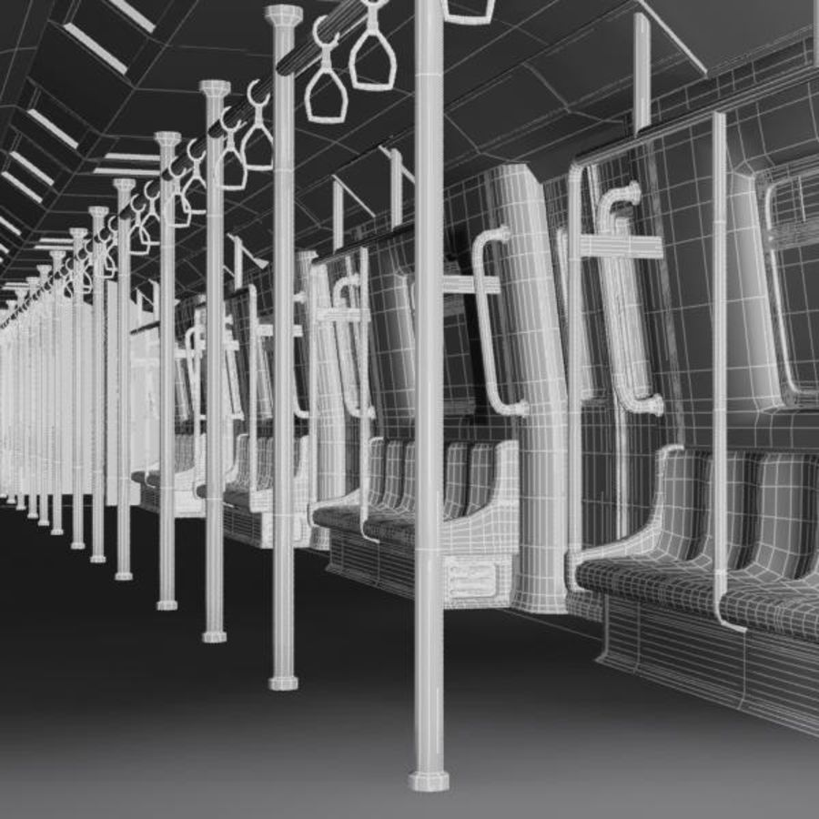 Cartoon Subway Train Interior royalty-free 3d model - Preview no. 7