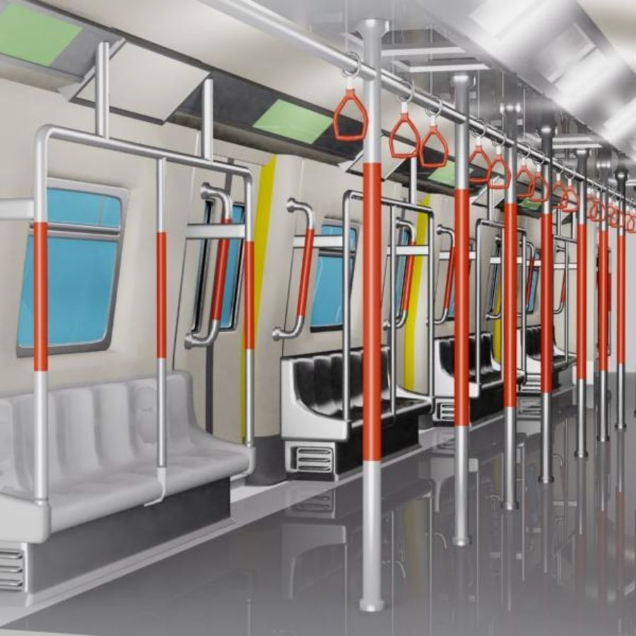 Cartoon Subway Train Interior royalty-free 3d model - Preview no. 2