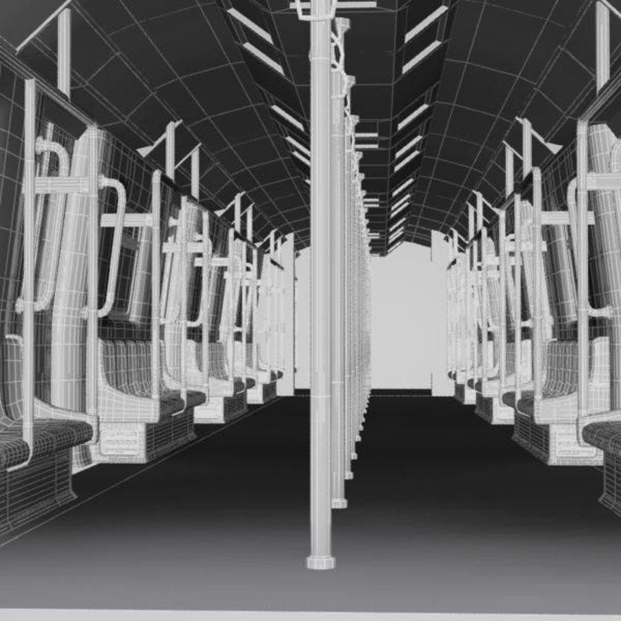 Cartoon Subway Train Interior royalty-free 3d model - Preview no. 8