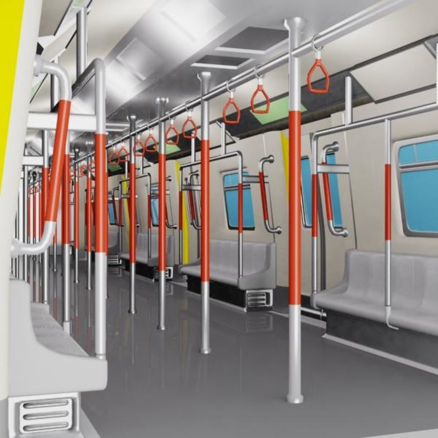 Interior de trem de metrô dos desenhos animados royalty-free 3d model - Preview no. 1