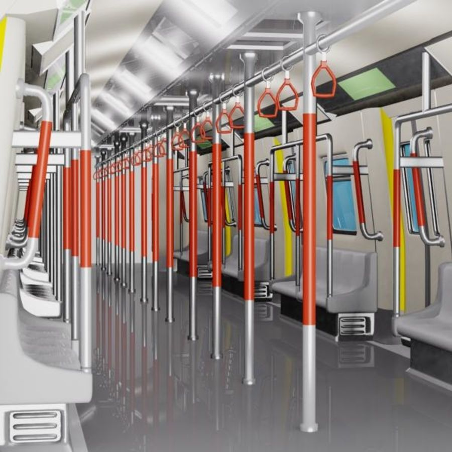 Cartoon Subway Train Interior royalty-free 3d model - Preview no. 3