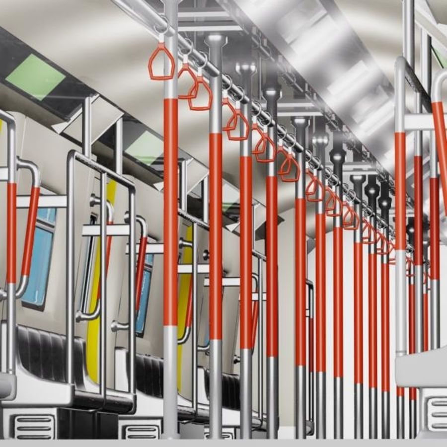 Cartoon Subway Train Interior royalty-free 3d model - Preview no. 5