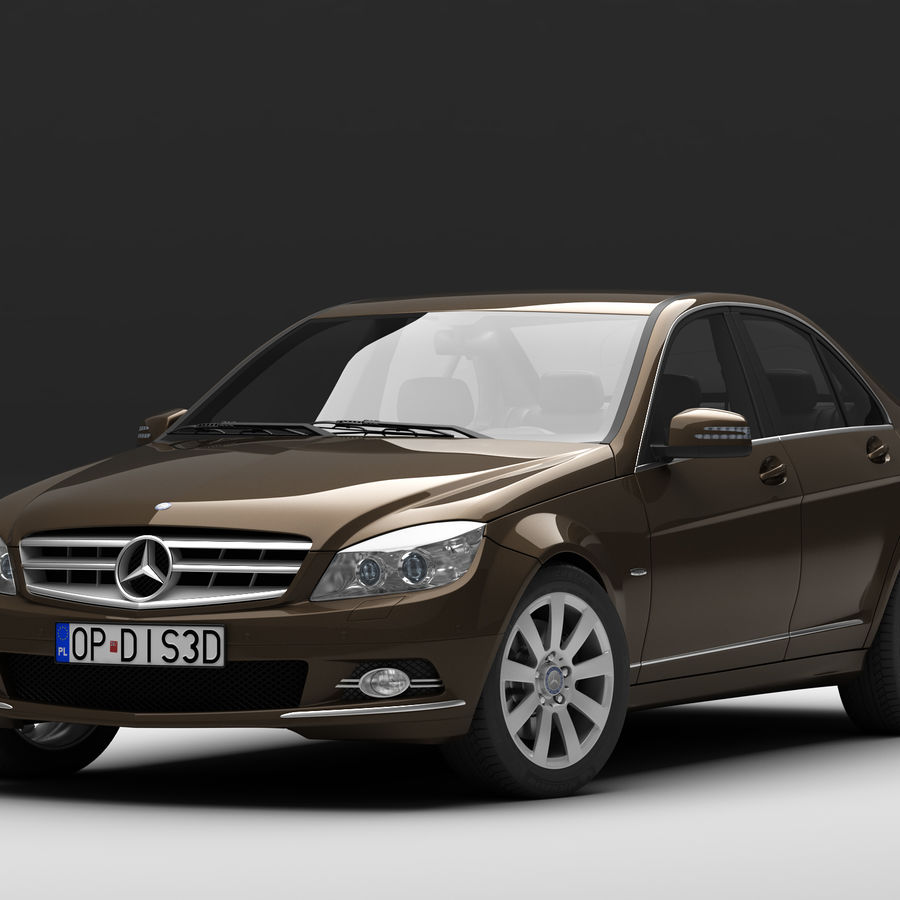 Mercedes C-Class 2008 royalty-free 3d model - Preview no. 1