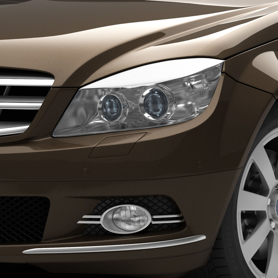 Mercedes C-Class 2008 royalty-free 3d model - Preview no. 9