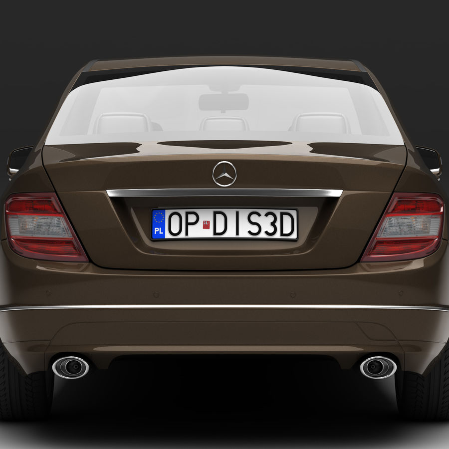 Mercedes C-Class 2008 royalty-free 3d model - Preview no. 4