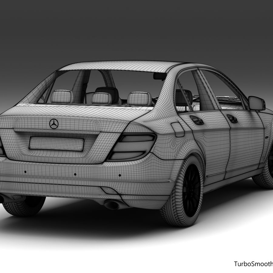 Mercedes C-Class 2008 royalty-free 3d model - Preview no. 16
