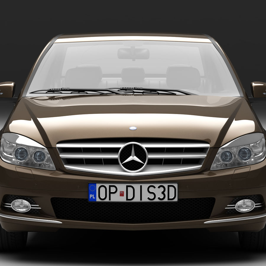 Mercedes C-Class 2008 royalty-free 3d model - Preview no. 3